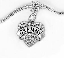 Grammy crystal heart  charm  fits European style bracelet and necklace grandma