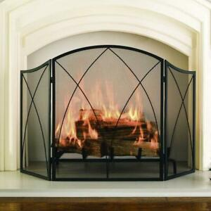 Arched 3-Panel Fireplace Screen, Victorian/Gothic Freestanding Steel Mesh Black