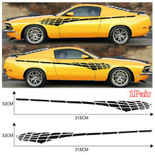 2x Black Racing Long Stripe Decor Decal Stickers For Car Side Body Waist Line