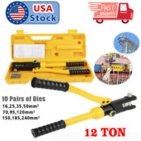 USA 12 Ton /10 Dies Hydraulic Wire Terminal Battery Cable Crimper Tool