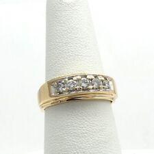 14K Gold 5 Stone Diamond Wedding Band Unisex Ring Sz 7