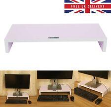 Wood Monitor Stand TV PC Laptop Computer Screen Riser Speaker Desk Storage White