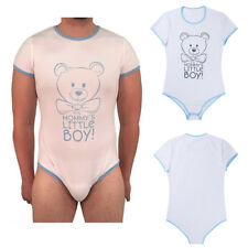 Adult Men Mommy's Little Boy Romper Baby Diaper Cover Button Crotch Bodysuit