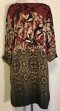Citron SantaMonica size M tunic dress silk w asian look floral ombre 3/4 sleeves