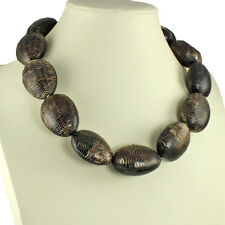 Natural real buffalo horn large chunky large pebble shape link choker necklace