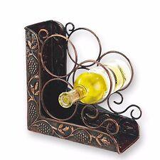 Lovely 3-Bottle Antique Heritage Copper Countertop Iron Bookend Wine Liquor Rack