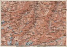 LUGNETZTAL SURSELVA. Valserrhein Furketlihorn Hinterrhein Splügen 1928 old map