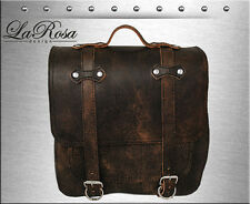 La Rosa Rustic Brown Leather Postal Style Harley Softail Rigid Mount Saddle Bag