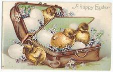 Easter Chicks in Suitcase IAP UDB Vintage Postcard
