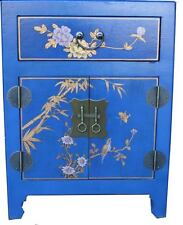 Chinese Blue Bedside Table - Hand Painted Flowers and Birds (BC-M12U-FL)