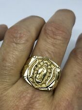 Vintage Gold Stainless Steel Mother Mary Saint Size 12 men's Ring