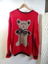 CHRISTMAS HAND KNITTED chunky acrylic sad teddy bear red jumper/sweater  M