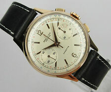 Vintage & Big BREITLING CADETTE chronograph, 18 kts solid gold , made in 50's
