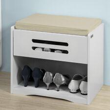 SoBuy Mini Schuhbox Sitzbank Schuhhocker mit Sitzkissen Badhocker weiß, FSR55-W