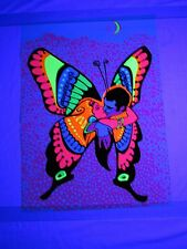 Vintage 1971 LOVE IS A BUTTERFLY Psychedelic Blacklight Poster Hip Productions