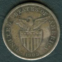 1909-S US Philippines 1 Peso United States of America Silver Coin - Stock #C7