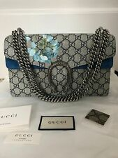 100% authenticNWT Auth Gucci Dionysus Blooms Blue Beige GG Supreme Shoulder Bag