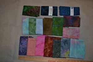 Lot of 17 cotton batik fabric pieces, mixed colors/designs, half-yard each