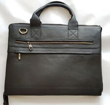 Leather handmade laptop messenger bag for 15.5 inch Cow Leather Black on offer