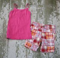 JUSTICE Pink Cami Knit Tank TOP Shirt Glitter Plaid Shorts Set Size 6 7 Slim