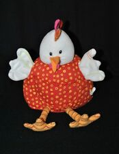 Peluche doudou marionnette poule coq blanc LILLIPUTIENS rouge grelot 30 cm TTBE