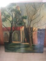 """Vintage Spanish Mission California or Mexico Impressionist Oil Painting 20x24"""""""