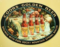 Coors Beer Waterfall Vintage Retro Tin Metal Sign 16 x 13in