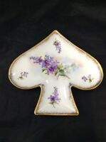 Vintage Violet Flowers Royal China Limoge Spade Plate Hand Painted Trinket Dish