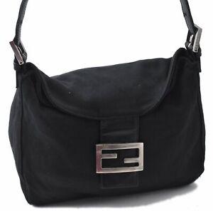Authentic FENDI Mamma Baguette Shoulder Bag Canvas Leather Black B2896