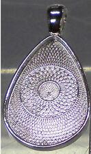 10 Teardrop Pendant Bezel Cabochon Settings  DIY Silver   Nickel & Lead Free