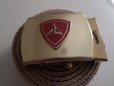 U.S MILITARY KHAKI WEB BELT WITH 3rd MARINE CORPS BRASS BUCKLE MADE IN THE U.S.A