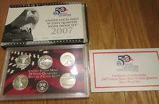 2007 U.S. Mint Silver Quarter Proof Set  with Box & COA 5 State Silver Quarters