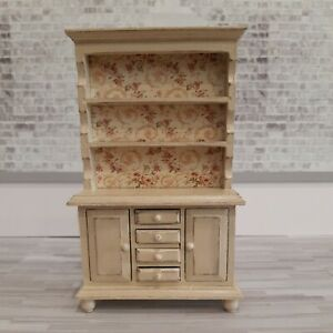 Dollhouse  1:12 Wood Distressed Aged Cream Cupboard With Floral Background