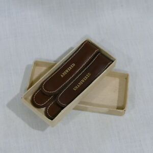 Vintage Leather Letter Clips ~ Answered & Unanswered ~ Desk Accessory