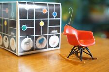 REAC MINIATURE MID-CENTURY MODERN CHRISTMAS TREE ORNAMENT RED ROCKER SHELL CHAIR