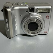 Canon PowerShot A530 Digital Camera 5.0 Megapixel 4x Zoom Silver Tested Working