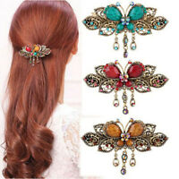 Hair Clamp Crystal Butterfly Retro Multi-Colored Hair Claw Hairpin Hair Clip LS