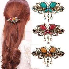 Vintage Womens Elegant Butterfly Flower Crystal Hairpins Barrette Hair Clips CS