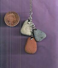 "Scottish stone & Scottish sea pottery 19"" silver plated CLUSTER pendant necklace"