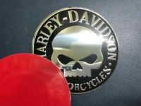 2x Harley Davidson Emblem Badge Skull Decals Motorcycle Chrome / Black