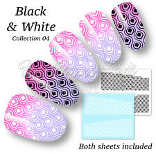 Peacock Nail Decals Water Stickers Black & White Eastern Art Pattern Nails B331