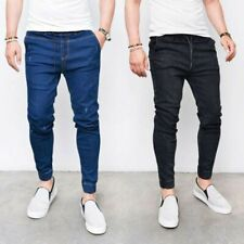 Mens Tapered Slim Denim Pants Jogging Trousers Jeans Bottoms Casual Joggers