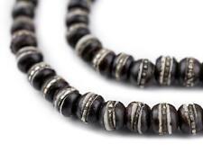Silver-Inlaid Black Bone Mala Beads 6mm Nepal Round Large Hole 22 Inch Strand