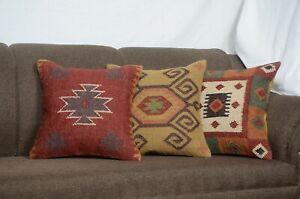 Set Of 3 Pcs Handmade Kilim Jute Cushion Cover 18x18 Hand-woven Rug Pillow 3033