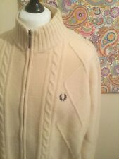 STUNNING FRED PERRY CREAM CABLE KNIT CARDIGAN 100% Wool JACKET PERFECT SIZE XL