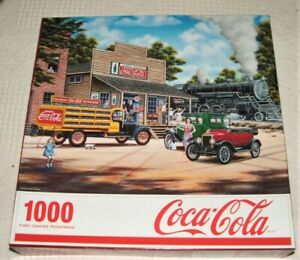 """Springbok Jigsaw Puzzle Coca Cola 1000 PC 24"""" X 30"""" ALL ABOARD GENTLY USED ONCE"""