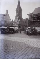 FRANCE Honfleur Église c1910, NEGATIF Stereo Photo Vintage Plaque Verre VR5L5