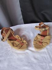 chaussures compensées kickers toile jute camel et cuir caramel 38