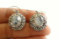 Moonstone Solitaire Ornate 925 Sterling Silver Dangle Drop Earrings
