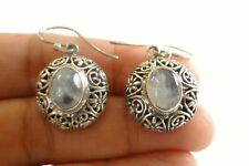 Moonstone Solitaire Ornate 925 Sterling Silver Dangle Drop Earrings